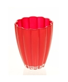 Bloemvorm vaas rood glas 17 cm