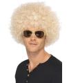 Blonde afro pruik voor heren