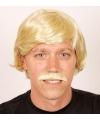 Blonde heren pruik met snor