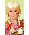 Blonde kinderpruik met vlechten