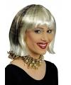 Blonde korte bob met luipaardprint pruik