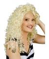 Blonde lange pruik met krullen