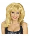 Blonde pruik met bol haar en pony