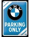 Bmw parking only bord blauw 15 x 20 cm