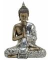 Boeddha beeld brons zilver 21 cm