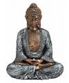 Boeddha beeldje brons zilver 23 cm