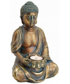 Boeddha beeldje theelichthouder goud 23 cm