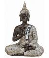 Boeddha beeldje zilver bruin 21 cm