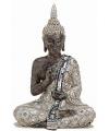 Boeddha beeldje zilver bruin 27 cm