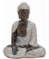 Boeddha beeldje zilver bruin 29 cm