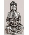 Boeddha theelichthouder zilver 41 cm