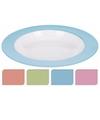 Bord diep melamine wit met groene rand 21 cm