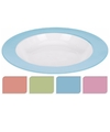 Bord diep melamine wit met roze rand 21 cm