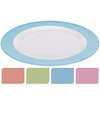 Bord plat melamine wit met roze rand 23 cm