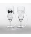 Bruiloft champagneglazen met strikjes
