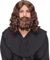 Bruine halflange pruik met baard