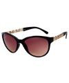 Bruine trendy zonnebril met gouden details