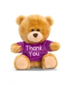 Bruine zittende knuffelbeer met paars shirt 14cm
