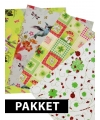 Cadeau inpakpapier met vrolijk patroon 4 stuks