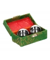 Chinese meridiaankogels 4 5 cm zilver in groen kistje