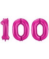 Cijfer 100 ballon roze 86 cm
