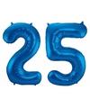 Cijfer 25 ballon blauw 86 cm