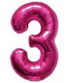 Cijfer 3 ballon roze 86 cm