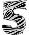 Cijfer 5 ballon zebra