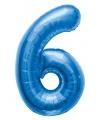 Cijfer 6 ballon blauw 86 cm