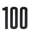 Cijfer sticker 100 zwart 10 cm