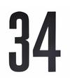 Cijfer sticker 34 zwart 10 cm