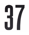 Cijfer sticker 37 zwart 10 cm