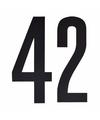 Cijfer sticker 42 zwart 10 cm