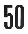 Cijfer sticker 50 zwart 10 cm
