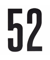Cijfer sticker 52 zwart 10 cm