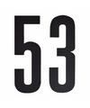 Cijfer sticker 53 zwart 10 cm