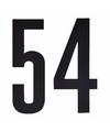 Cijfer sticker 54 zwart 10 cm