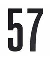 Cijfer sticker 57 zwart 10 cm