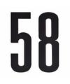 Cijfer sticker 58 zwart 10 cm
