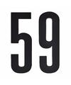 Cijfer sticker 59 zwart 10 cm