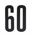 Cijfer sticker 60 zwart 10 cm