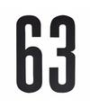 Cijfer sticker 63 zwart 10 cm