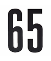 Cijfer sticker 65 zwart 10 cm
