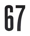 Cijfer sticker 67 zwart 10 cm