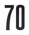 Cijfer sticker 70 zwart 10 cm