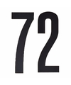 Cijfer sticker 72 zwart 10 cm