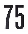 Cijfer sticker 75 zwart 10 cm