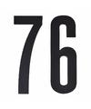 Cijfer sticker 76 zwart 10 cm