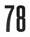 Cijfer sticker 78 zwart 10 cm