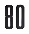 Cijfer sticker 80 zwart 10 cm